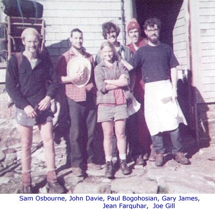 Lakes 1974 – Sam Osbourne, John Davie, Paul Bogohsian, Gary James, Jean Farquhar, Joe Gill